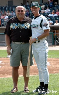 John DeCoster (left) with Manager Greg Tagert during a pre-game ceremony in 2005