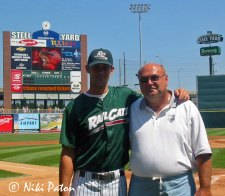 John DeCoster and Sazi Guthrie (left) at the Steel Yard in 2003