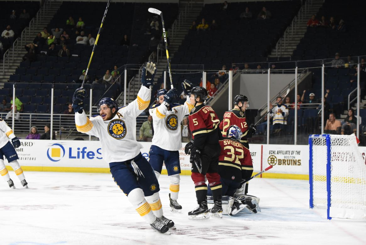 8a4057c2d06 Norfolk Admirals celebrate a goal against the Atlanta Gladiators ...