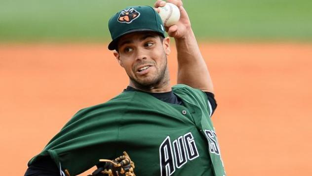 Pitcher Steve Messner with the Augusta GreenJackets