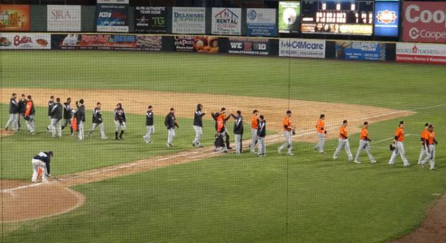 Long Island Ducks and Camden Riversharks Exchange High Fives