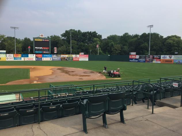 Water in the Infield at New Britain Stadium