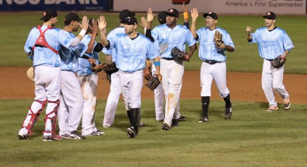 Long Island Ducks Celebrate Win over Southern Maryland Blue Crabs