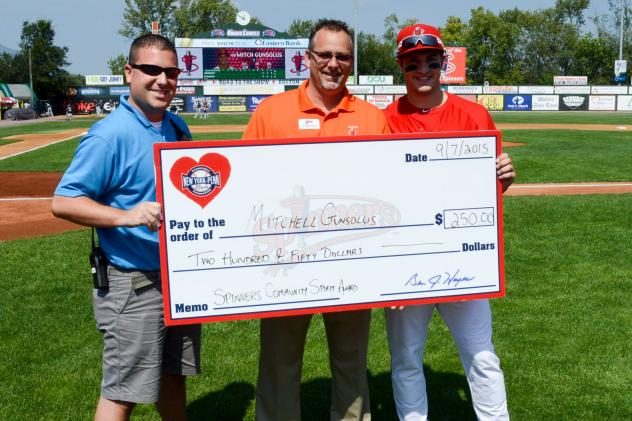 Mitchell Gunsolus Accepts Lowell Spinners Community MVP Check