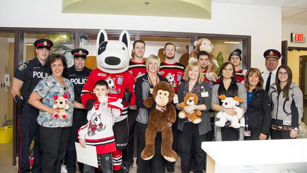 IceDogs and Niagara Regional Police Visit Niagara Health Systems St. Catharines with Teddy Bears