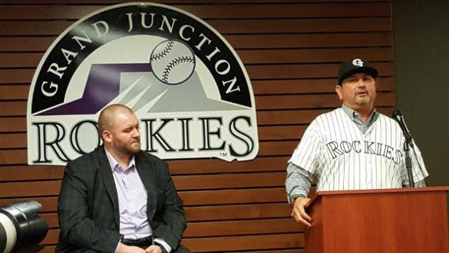 New Grand Junction Rockies President Joe Kubly (left) and 2016 Manager Frank Gonzales