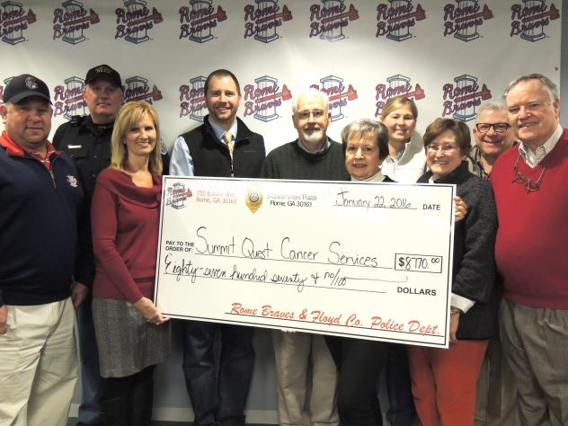 Rome Braves Present Donation to Summit Quest Cancer Services
