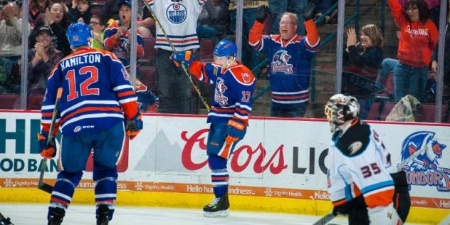 Bakersfield Condors RW Andrew Miller Celebrates a Goal vs. the San Diego Gulls