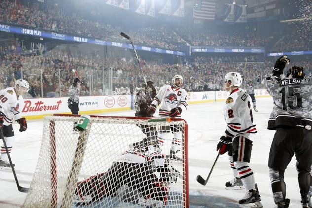 Chicago Wolves Celebrate a Goal vs. the Rockford IceHogs
