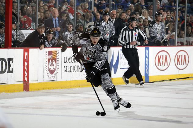 Chicago Wolves LW Dmitrij Jaskin Handles the Puck vs. the Rockford IceHogs