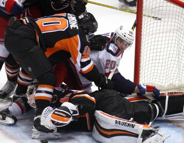 Lehigh Valley Phantoms Scramble to Keep the Hartford Wolf Pack from Scoring