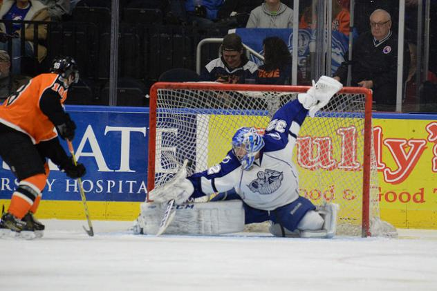 Lehigh Valley Phantoms Left Wing Danick Martel Scores against the Syracuse Crunch