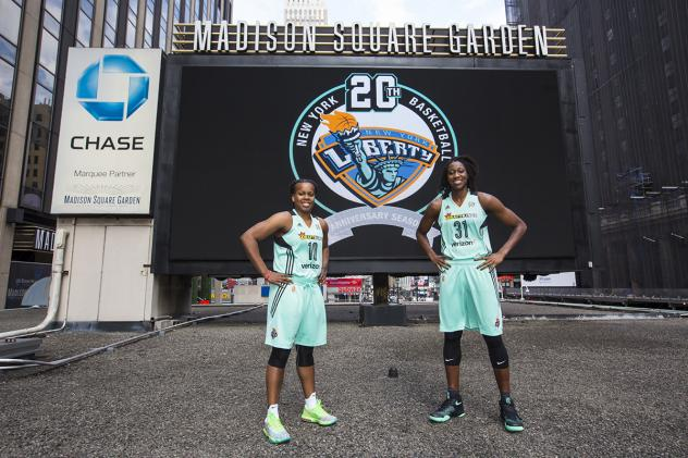 Tina Charles and Epiphanny Prince Model New York Liberty Uniforms