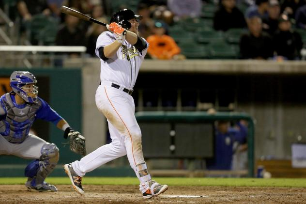 A.J. Reed of the Fresno Grizzlies Completes his Swing