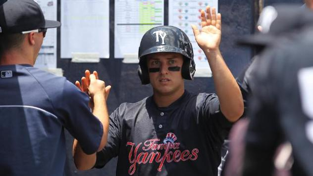 Mark Payton of the Tampa Yankees Receives Congratulations