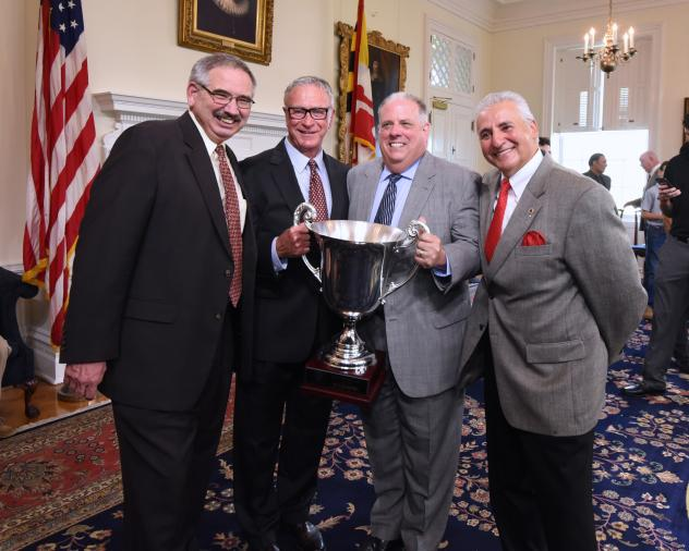 Baltimore Blast Owner Ed Hale (Second from Left) with the MASL Championship Trophy