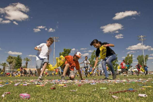 Children Collect Candy at the Bakersfield Blaze Candy Drop
