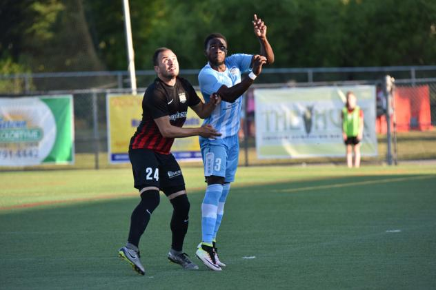 Zach Prince of the Charleston Battery (Left) Waits for the Ball vs. the Wilmington Hammerheads