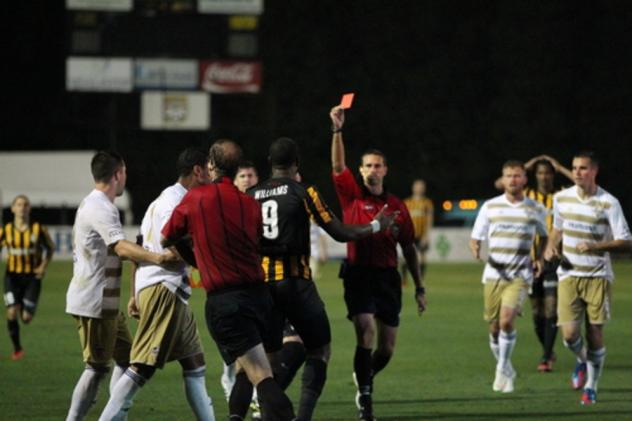 Romario Williams of the Charleston Battery Gets a Red Card vs. Louisville City FC