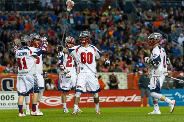 Boston Cannons Celebrate a Goal vs. the Denver Outlaws