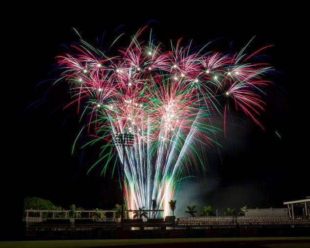 Fireworks over Hammond Stadium, Home of the Fort Myers Miracle