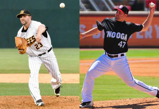 LHP Nick Greenwood with the New Britain Bees and Chattanooga Lookouts