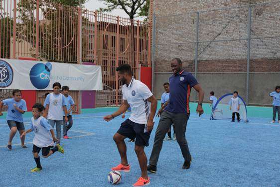 New York City FC, PS 24 Students on Soccer Field at Brooklyn Elementary School