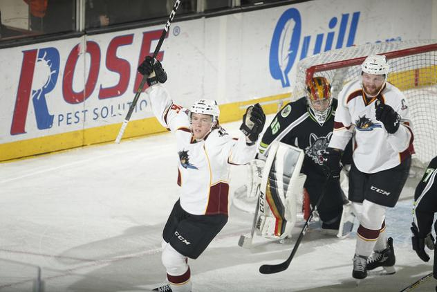Cleveland Monsters Celebrate a Goal against the Chicago Wolves