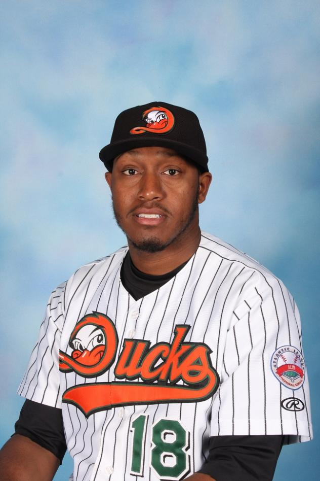 Outfielder Delta Cleary Jr. with the Long Island Ducks