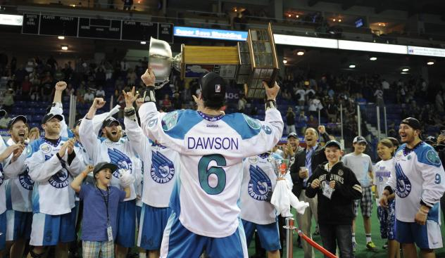 Dan Dawson celebrating the 2013 Championship with the Rochester Knighthawks and fans