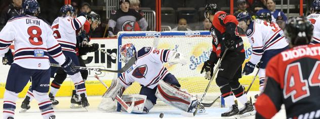South Carolina Stingrays Goaltender Parker Milner tries to keep the Cincinnati Cyclones at bay
