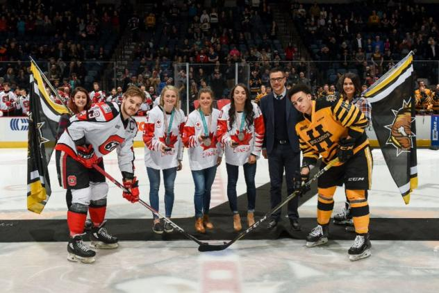 Canadian Olympians at the Hamilton Bulldogs game