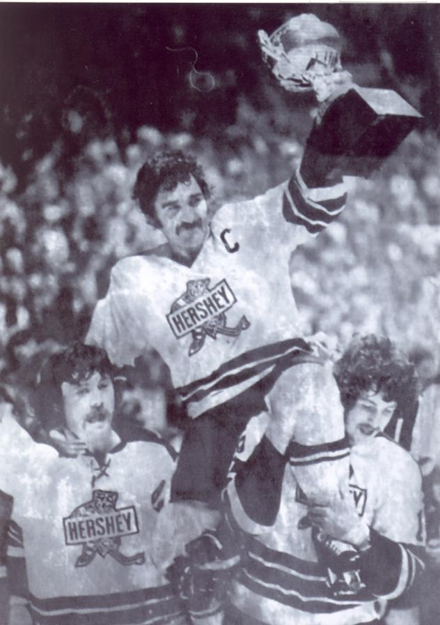 Ralph Keller and the Hershey Bears celebrate winning the Calder Cup