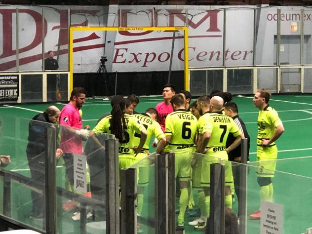 The Milwaukee Wave huddle up during their MASL playoff game against the Cedar Rapids Rampage