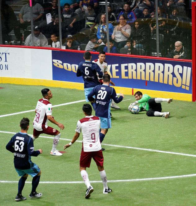San Diego Sockers Goalkeeper Chris Toth saves a Sonora shot