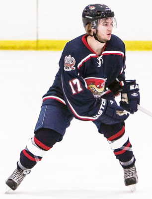 Forward Tyler Poulsen with the Topeka Roadrunners