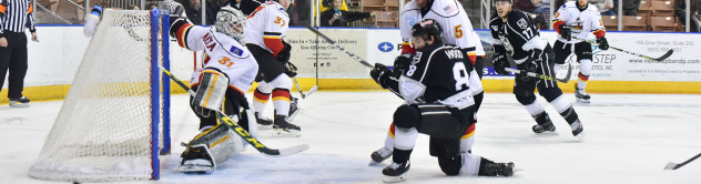 Manchester Monarchs Forward Jake Wood shoots against the A