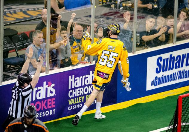 Bryan Cole of the Georgia Swarm celebrates a goal with the fans