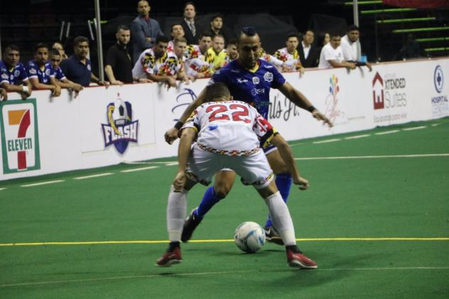 Baltimore Blast Midfielder Juan Pereira faces off against the Monterrey Flash