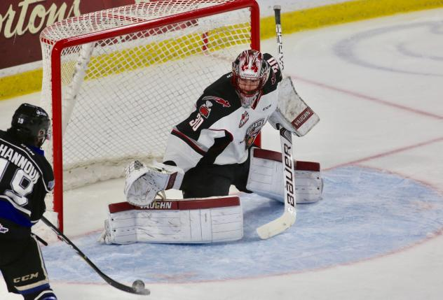 Vancouver Giants Goaltender David Tendeck eyes a Victoria Royals shooter