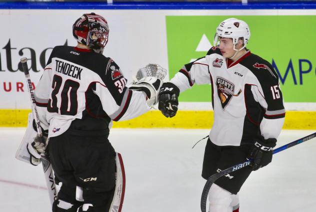 Vancouver Giants Goaltender David Tendeck and Left Wing Owen Hardy