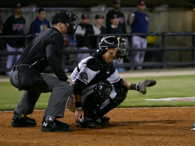 Carolina Mudcats Catcher Max McDowell behind the plate
