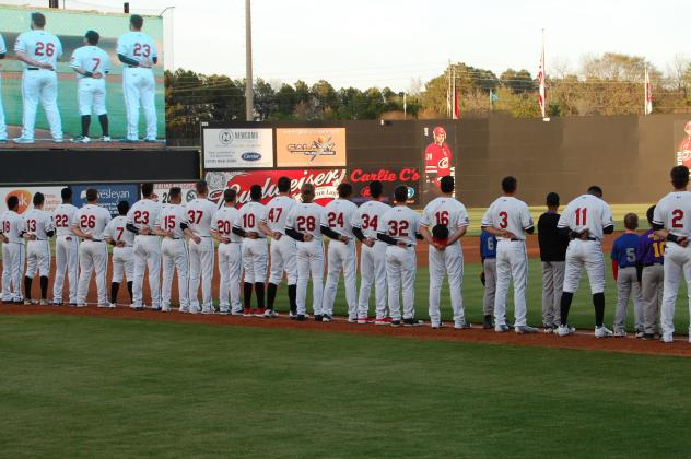 Opening night introductions for the Carolina Mudcats