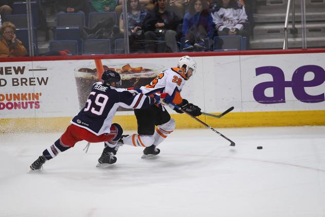Lehigh Valley Phantoms race against the Hartford Wolf Pack