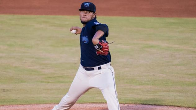 Pitcher Jaime Barria with the Mobile BayBears