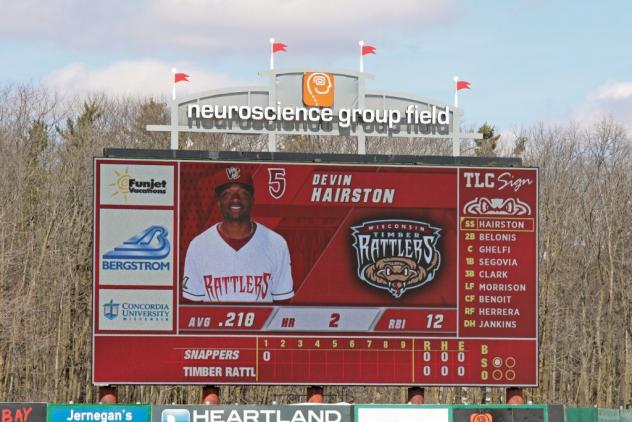 The new video scoreboard at Neuroscience Group Field, home of the Wisconsin Timber Rattlers