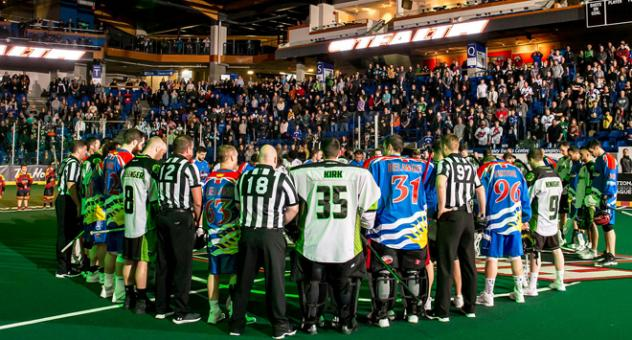 Vancouver Stealth and the Saskatchewan Rush gather for the Humboldt Tragedy