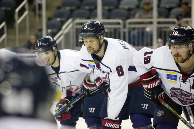 Evansville Thunderbolts line up to face the Macon Mayhem
