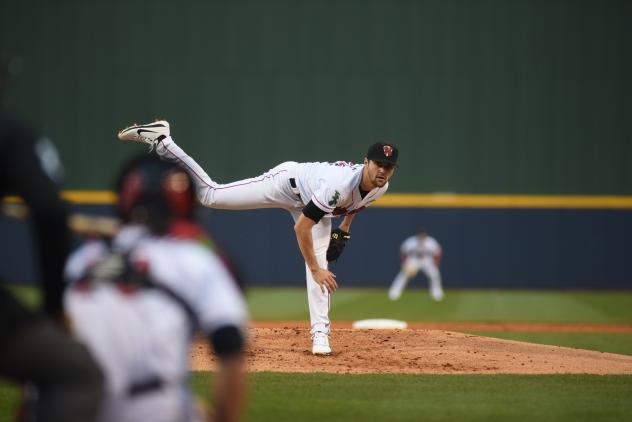 Nashville Sounds Pitcher James Naile delivers