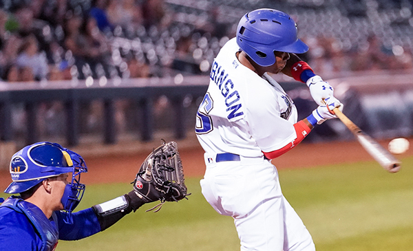Errol Robinson of the Tulsa Drillers connects on one of his two hits